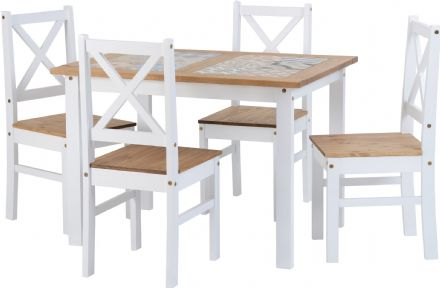 Ceramic Tile Top Dining Set - Table & 4 Chairs
